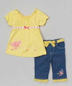 This Yellow Floral Bow Top & Blue Denim Pants - Toddler & Girls by Nannette Girl is perfect! #zulilyfinds