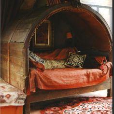 interior, wine barrels, cozy nook, nest, reading nooks, place, bohemian, bedroom, cozy beds