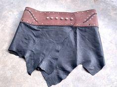 Leather Mini Skirt with Belt and Secret Pocket - Black x Tan Cork - Tribal, Pixie, Cyber, Festival, Burning Man, OOAK