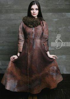 Купить Валяное платье «Darkness» - рыжий, валяное платье, платье из войлока, ирина демченко