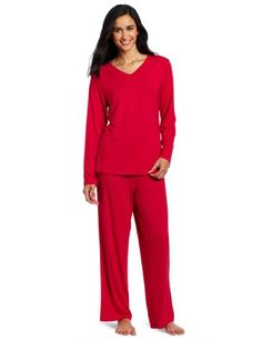 Casual Moments Womens Pajama VNeck Set Cherry Red Large     Be sure to check fc91c4512