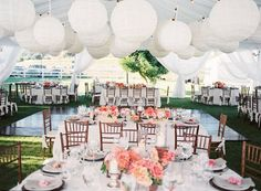 Gorgeous white billowing tent, beautiful tables & chairs and a great dance floor! Want this look? Mahaffey could do this for you!