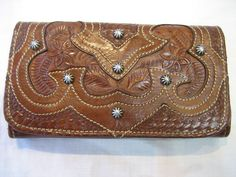 Vintage American West Tooled Leather Studded Tri-fold Wallet by CLASSYBAG on Etsy