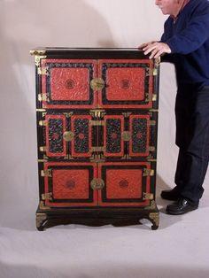 Antique Korean cinnabar and black lacquer apothecary or vintage medicine chest