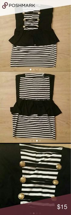 """🎉Host Pick 🎉Halter Top Dress OPEN TO OFFERS   Black & white stripes tube top styled dress It's a mini but it covers your backside I'm 5""""7 Cotton material Spandex material as well Very stretchy the back of dress is elastic If you're top heavy it will fit across your chest nicely It has pretty Gold buttons on the front It will fit if you're a large or x large I wear both sizes in dresses For help w/ fitting Look at my other listings for my body type  Brand isn't forever21   Pet free Smoke…"""