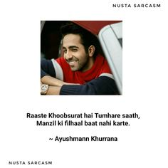 """"""" Safar Khoobsurat Hain , Manzil se Bhi """" 😍😍💕💕✨ - - - Follow @nusta.sarcasm for more such Amazing Posts ... @ayushmannk - - - -… Shyari Quotes, Hurt Quotes, Crazy Quotes, Life Quotes, Best Friend Quotes Funny, First Love Quotes, Feeling Sad Quotes, Love Friendship Quotes, Words To Live By Quotes"""