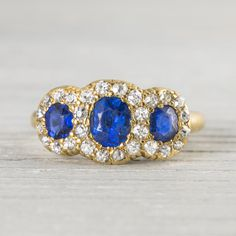 This antique diamond and sapphire ring is beyond gorgeous.