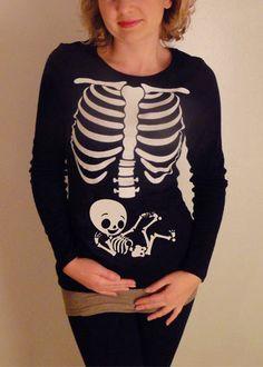Halloween Skeleton Shirt, Halloween Costume Tshirt, Skeleton Baby BOY / Neutral Pregnancy Maternity Shirt