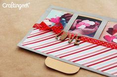 Una tarjeta con mensaje o fotos sorpresa… desliza y descubre el contenido Excelente idea para tarjetas de San valentín. Mira como hacerla a continuación… Me tomó tiempo hacer el diseño de esta tarjeta. Al principio tenía una idea que terminó siendo un poquito diferente pero mejor. La idea es que al frente pongas 3 fotografías …