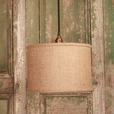 "Burlap Drum Shade Lighting With 12"" Diameter Warm Burlap Fabric Drum Shade"
