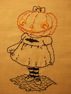 Pumpkin Girl Embroidery