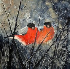 Two birds, painting by artist Pol Ledent