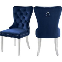 "Free 2-day shipping. Buy Meridian Furniture Carmen 19.5""H Velvet Dining Chair in Navy (Set of 2) at Walmart.com"