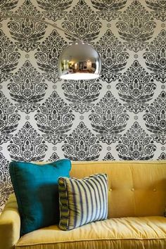 Indian Paisley stencil in graphic black and white. Looks sharp with yellow and turquoise, no?