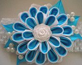 Headband,  kanzashi flower, elastic band with flower, white and  blue, made of satin ribbon, for baby girls