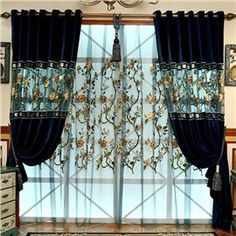 Decoration Dark Blue Luxury Embroidery Style Grommet Top Shading and Sheer Curtain Sets Home Curtains, Curtains For Sale, Sheer Curtains, Window Drapes, Curtain Styles, Curtain Designs, European Fashion, European Style, Black And White Living Room