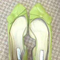 Adorably preppy lime green bow shoes! A bit worn, but definitely a fashion statement. Perfect pop of color for work. Halogen Shoes Flats & Loafers