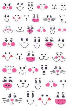 Patterns for cute animal faces. Patterns for cute animal faces. Sewing Crafts, Sewing Projects, Clay Pot Crafts, Bunny Face, Funny Drawings, Cartoon Faces, Animal Faces, Doll Face, Doll Eyes