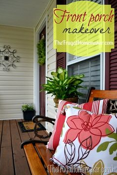 "DIY: Front porch makeover for the Spring on a ""Very Limited"" Budget ! (This post is amazing contains painting & staining Tutorials, Decor tutorials, and tons of ideas with Money saving tips !  