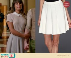 Rachel's peter pan collar top and white pleated skirt on Glee. Outfit Details: http://wornontv.net/20415 #Glee #Fox