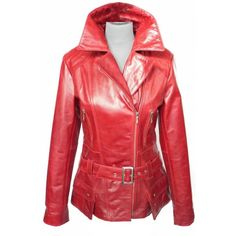 Women's Leather Jacket Belted Red Retro Short New Style