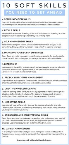 Career Advice: To get ahead in your career, you will need more than technical skills. Career advancement is all about developing soft skills. These are the 10 soft skills you need and how to develop them! Job Interview Preparation, Job Interview Questions, Job Interview Tips, Job Interviews, How To Interview, Job Career, Career Planning, Career Advice, Career Ideas