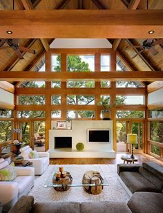 Cool beams. modern living room by The Anderson Studio of Architecture & Design