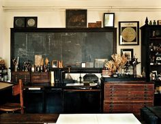 These drawers, that chalkboard, the drafting table...delicious...