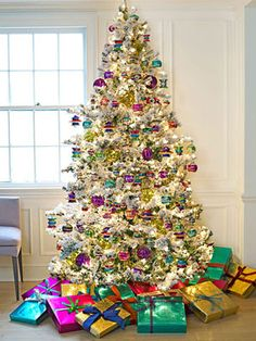 jewel-toned white tree - this will be my first Christmas tree for my own first tree!