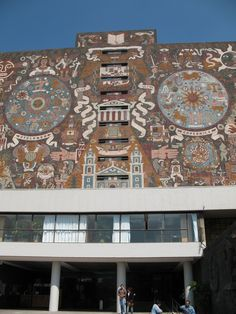 Detail of mural by Juan O'Gorman Central Library, Visual Communication, World Heritage Sites, Wall Design, City Photo, I Am Awesome, Places To Visit, Building, Modern