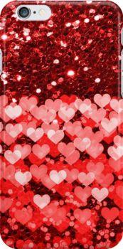 #RedAndWhiteHearts #FauxGlitter #iPhone6Case by #MoonDreamsMusic #Valentine