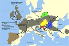 Map of Movement of the Northern European peoples from the Urnfield Proto-Celts (1000 BC) to the Pre-Roman Conquests of the last century BC