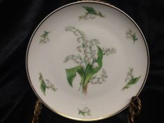 Vintage Giraud Limoges France plate hand painted lily of the valley gold edge cottage chic