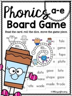 Board games are a great way to incorporate cooperative learning, taking turns, problem solving, and many social skills that students just do not get enough practice with. I try to incorporate games as much as I can. I found the perfect way to use games in my phonics lesson. These are a great add... Phonics Lessons, Phonics Activities, Book Activities, Kindergarten Phonics, Preschool, First Grade Games, First Grade Words, Reading Tutoring, Teaching Reading