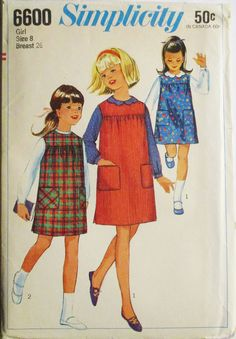 1960s Vintage Sewing Pattern Simplicity 6600 Girls Blouse & Jumper Pattern Size 8 Breast 26 Uncut by SewYesterdayPatterns on Etsy