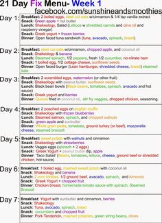 Sunshine and Smoothies Fitness: 21 Day Fix - Week 1 Menu