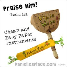 Praise Him - Paper Musical Instruments Bible Craft for Sunday School from www. Super easy and cheap! Toddler Sunday School, Sunday School Crafts For Kids, Bible School Crafts, Bible Crafts For Kids, Sunday School Activities, Preschool Bible, Sunday School Lessons, Lessons For Kids, Bible Lessons
