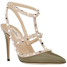 Pre-owned Valentino Leather Rockstud T-strap Slingback Goldtone... (22.335 UYU) ❤ liked on Polyvore featuring shoes, sandals, olive green, olive green sandals, leather t strap sandals, slingback sandals, valentino sandals and ankle wrap sandals