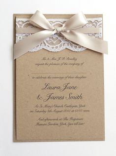 Ribbon and Lace Wedding Invitation by STNstationery on Etsy, £3.00