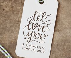 Personalized Let Love Grow Rubber Stamp for Wedding Stationery and Favor Tags for Weddings or Baby-Bridal Showers