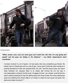 Jensen running slower for the stuntsmen