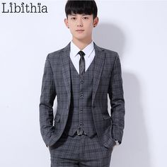 (Jakcet+Pant) Men's Wedding Dress Suit Plaid Skinny Suits One Button Male Clothes M-3XL Terno Masculino Dark blue/Dark grey K310 #Affiliate