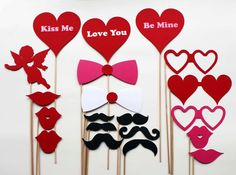 Valentines Day Photo Booth Props  20 Piece by BeBopProps on Etsy, $44.00