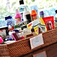 Bathroom baskets can be a really nice touch for your guests at the reception. We've got a list of items to include in your wedding reception bathroom kits.
