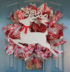 Silver Glitter Reindeer on Red and Silver Tinsel Deco Mesh Christmas Wreath by TwoRoadsDivergedShop on Etsy