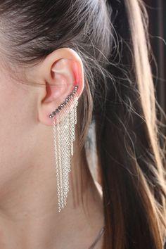Dangle Earrings,Ear Cuffs,Ear Cuffs,February Birthstone,Bar Studs,SlvernDangle Earrings,Silver Earrings,Silver Ear Climber,Ear Jackets
