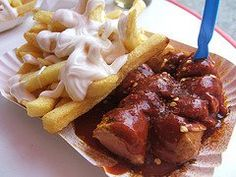 <b>Currywurst</b>: Currywurst is a German national dish consisting of hot pork sausage cut into slices and seasoned with curry sauce (regularly consisting of ketchup or tomato paste blended with curry) and generous amounts of curry powder, or a ready-made ketchup-based sauce seasoned with curry and other spices.