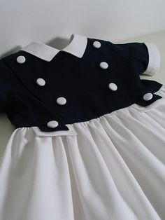 Navy and White Pique Dress for A Little by patriciasmithdesigns, $98.00