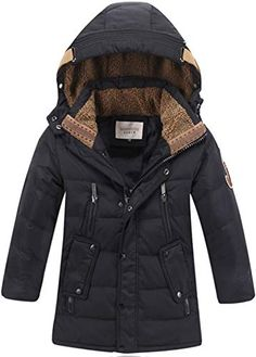 Pivaconis Boy and Girl Quilted Faux Fur Hooded Down Jacket Outwear Parka Coat