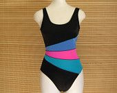 vintage 80s swimsuit 35% OFF SALE one-piece bathing suit in black neon pink blue turquoise green